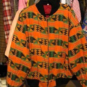 Vintage african print bomber jacket